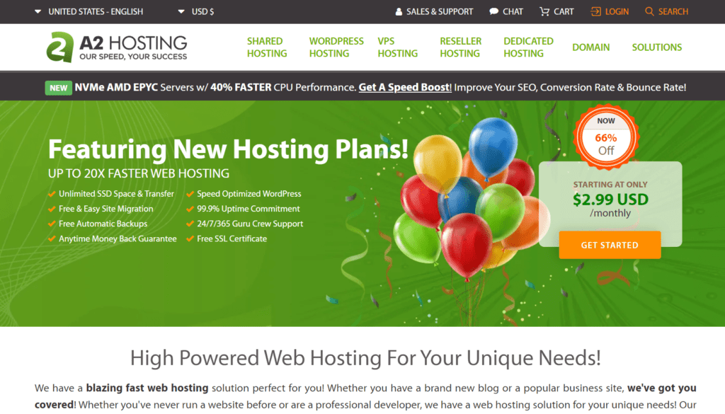 fast web hosting review