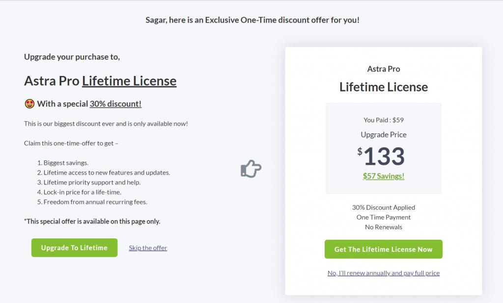 Astra pro theme lifetime discount