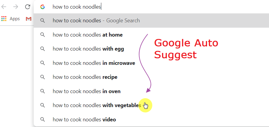 Google auto suggest keywords