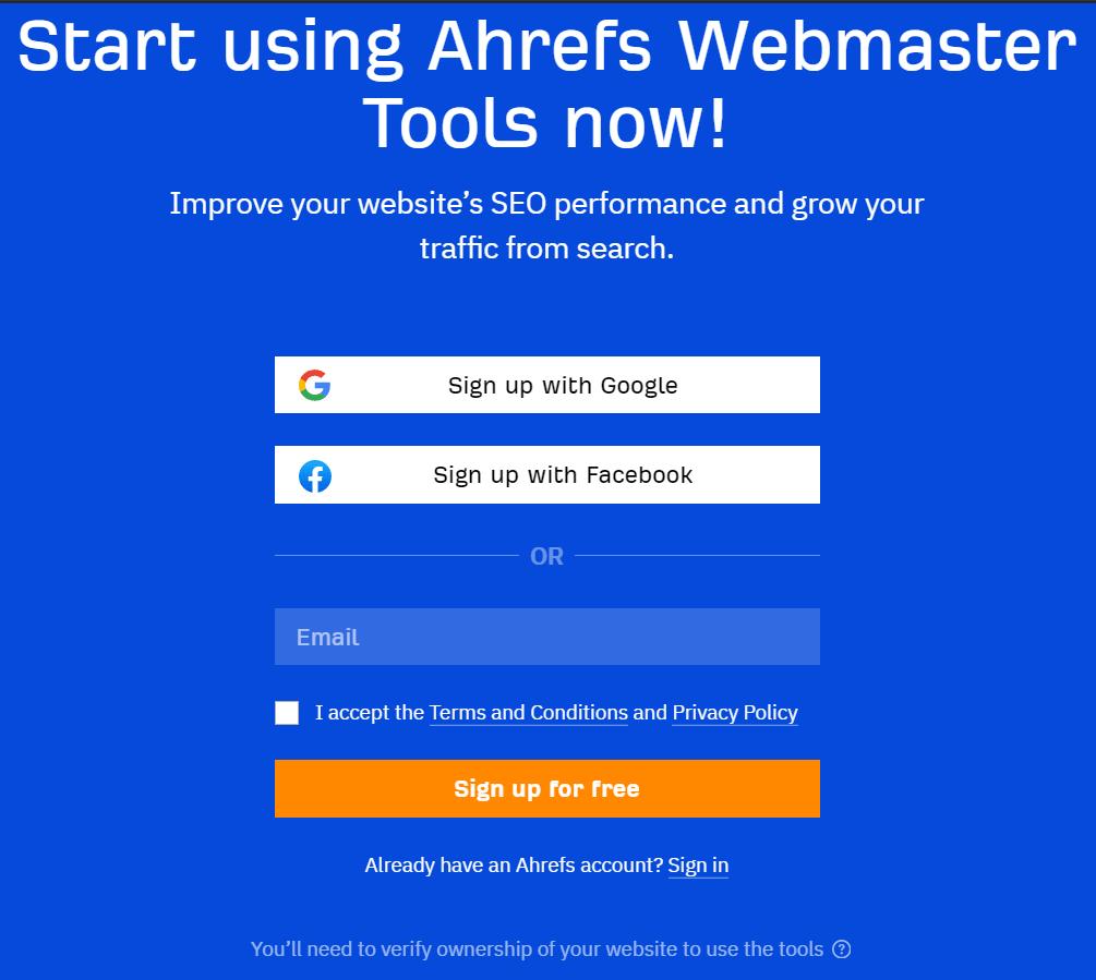 ahrefs webmaster tools signup