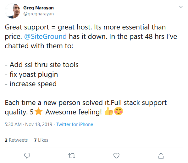 siteground review tweet